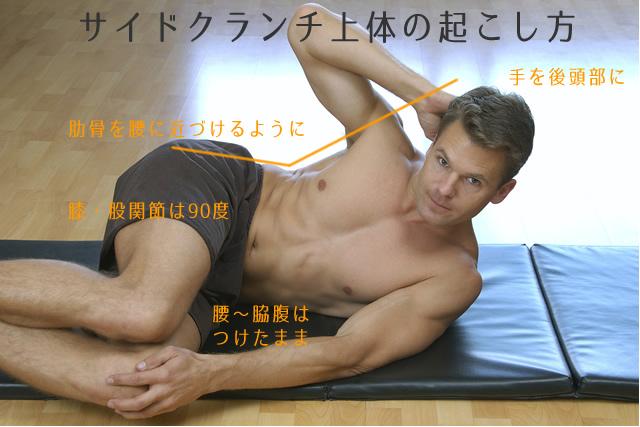 サイドクランチのやり方(上体を起こした姿勢)
