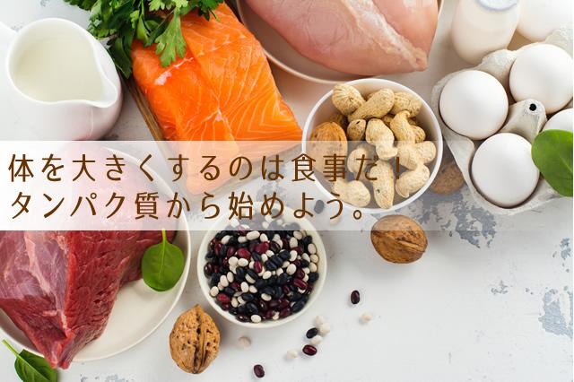 食事で体を大きくする。タンパク質中心の食生活
