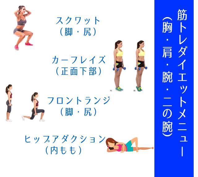 脚・尻の筋トレダイエットメニュー(スクワット、カーフレイズ、フロントランジ、ヒップアダクション)